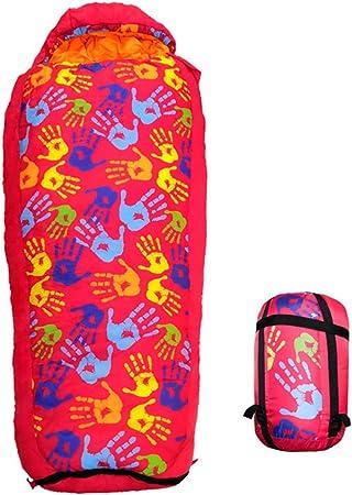 MCLJR Saco De Dormir para Niños,Saco De Dormir Retráctil, Relleno De Algodón Hueco-3-15 ° C, Bolsa De Transporte Incluida, Ideal para Acampar, Senderismo,Rojo: Amazon.es: Hogar