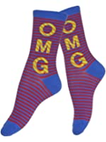 Women's Oh My God Print Cotton Blend Crew Socks - Blue/Red