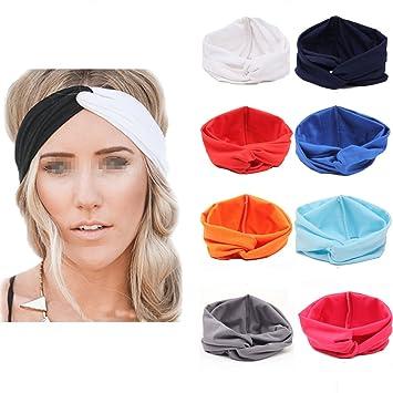 Amazon.com   Flyusa Women Girls Turban Twist Headband Head Wrap Twisted Knotted  Knot Soft Hair Band 73ce5183f25