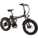 "Tucano Bikes Monster 20 - Bicicleta Eléctrica Plegable Fat Bike 20"" con batería integrada Samsung y Display LCD con 9 Niveles de Ayuda en Color Negro Mate"