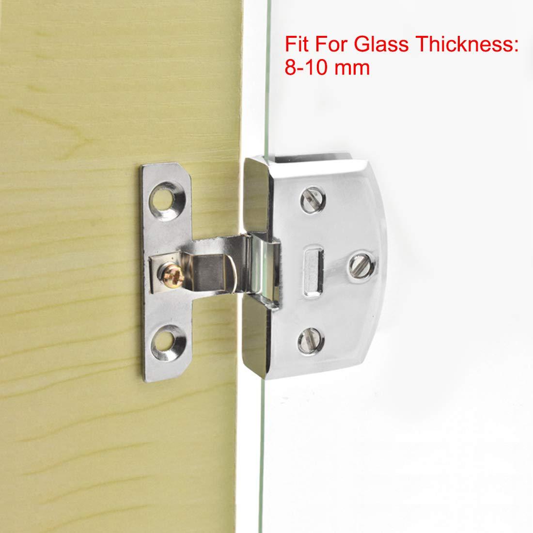 for 8-10mm Glass Thickness uxcell Glass Door Hinge Cupboard Showcase Cabinet Door Hinge Glass Clamp,Zinc Alloy
