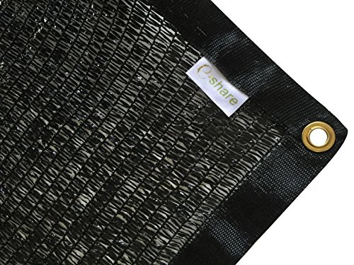 E.share Best Quality 40% UV Shade Cloth Black Premium Mesh Shadecloth Sunblock Shade Panel 12ft x 6ft - Greenhouse Shade Cloth