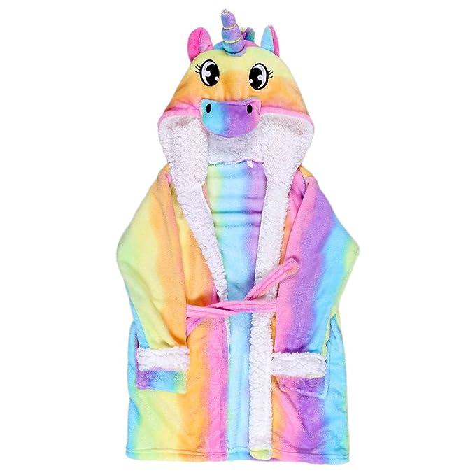 Amazon.com  Kids Hooded Animal Unicorn Bathrobe Plush Fleece Robe Halloween  Cosplay Sleepwear (Rainbow 5b19461ec