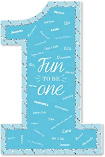product image for Big Dot of Happiness 1st Birthday Boy - Fun to be One - Guest Book Sign - First Birthday Party Guestbook Alternative - Signature Mat