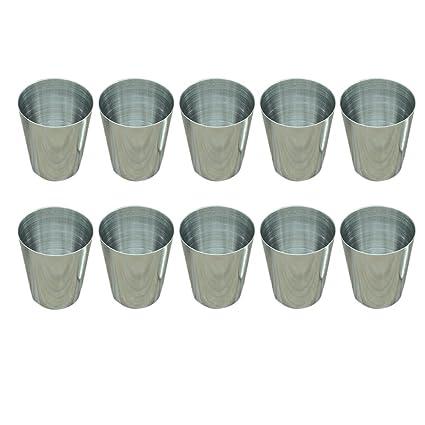 Vasos de acero inoxidable, 28,4 ml, 10 piezas, de Jujor.