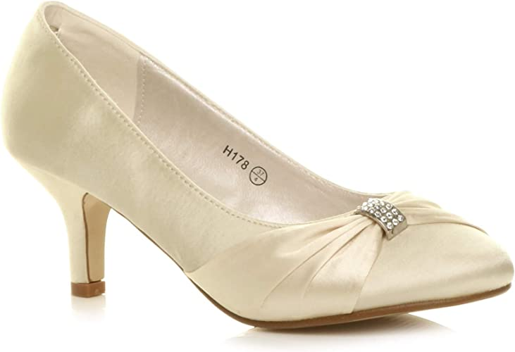 NEW Ladies Wedding Bridal Diamante Ivory Satin Low Heel Court Shoes Size 002//1