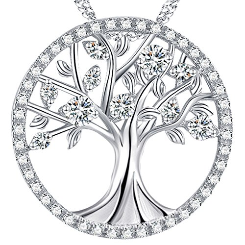 Necklace Womens Fine (Christmas Gift for Women The Tree of Life Sterling Silver Love Pendant Necklace Birthday Anniversary Gifts for Her For Family Fine Jewelry with Simulated Diamond)