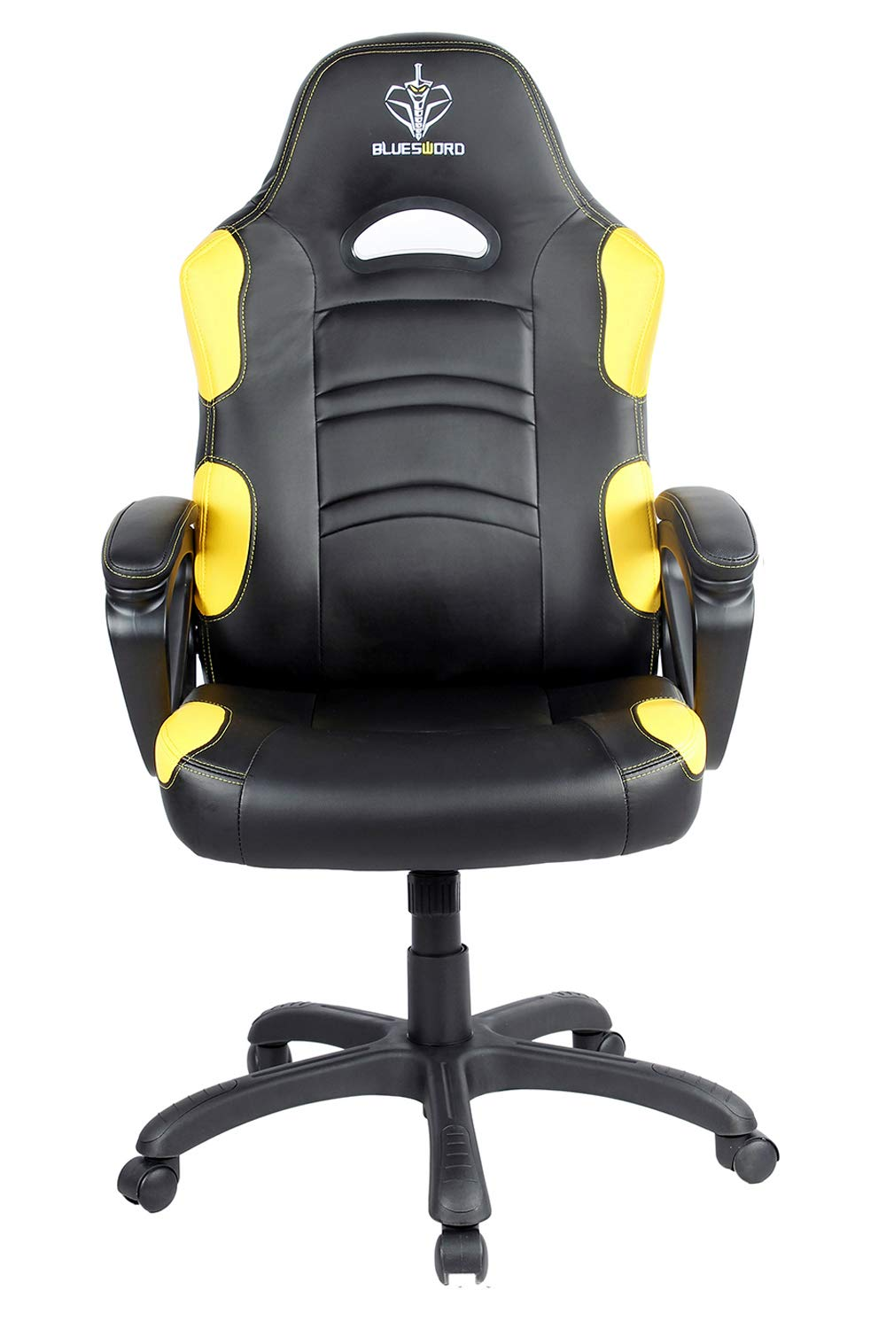 BLUE SWORD Gaming Chair, Racing Car Style Gaming Chair with Large Bucket Seat, Computer Chair with Tilting and Swivel Function, Leatherette, Yellow by BLUE SWORD
