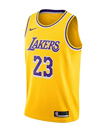 52d58d34 NIKE Men's Los Angeles Lakers Lebron James 2018-19 Icon Edition Swingman  Jersey Small Gold