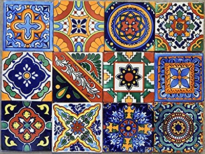 "40 Mexican Talavera Tiles Hand Painted 6""x6"" Stairs Backsplash 10 Designs"