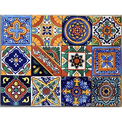 Image of 40 Mexican Talavera Tiles Hand Painted 6'x6' Stairs Backsplash 10 Designs Home and Kitchen