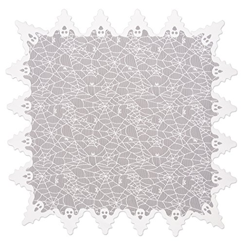 Heritage Lace Halloween Ghost Table Topper,Spider Webs with Ghost Border, 58