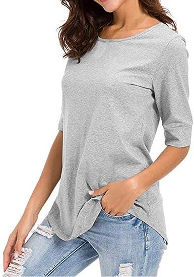 SEWORLD Camiseta de Mujer Casual Solid T Shirt Blusa de Media Manga Túnicas Básicas Empalme Tops Blusa(Blanco, Negro, Gris, S, M, L, XL): Amazon.es: Ropa y accesorios