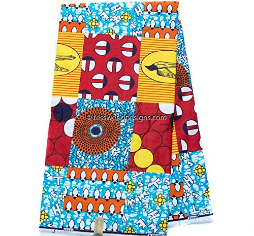 Faux Patchwork African Fabric 6 Yards African Fabric Ankara Fabric | Hollandais African Wax Print Cotton Print WP1011 (Red, Blue, and Yellow)