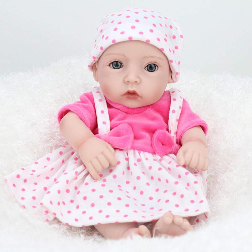 NPKdoll Reborn Baby Puppe Simulation Mädchen 28cm, DG111 Weiches Silikon Für Den Ganzen Körper/Kann Ins Wasser Gehen,Niedlich Spielzeug Geschenk