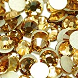 Beading Station 1440-Piece BSI Flat Back Brilliant 14-Cut Round Rhinestones, 3mm-10ss, Gold
