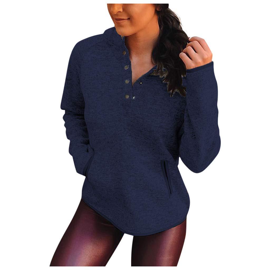 Yemenger Pullover Sweatshirt for Women V Neck Pocket Button Up Sweater Fall Blouse Long Sleeve T-Shirt Tee Top Navy by Yemenger_women tops