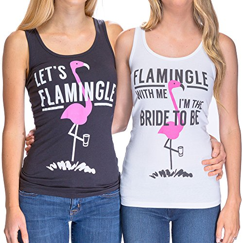 [Adorable Flamingo Bachelorette Party Shirts - 'Flamingle With Me I'm the Bride To Be' and 'Let's Flamingle' (L, White - Flamingle With Me I'm The Bride To] (All White Party Outfit Ideas)