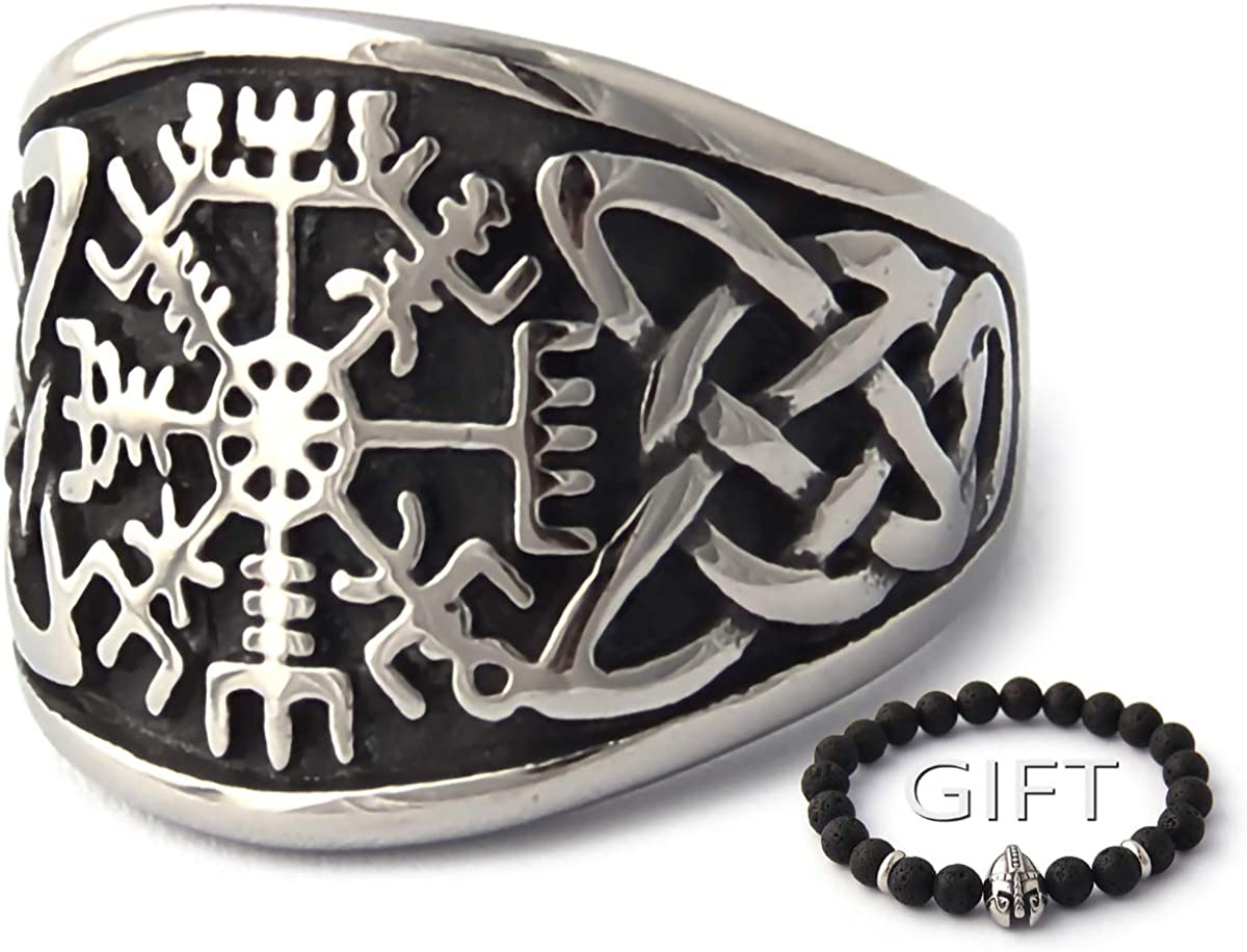 ENXICO Vegvisir Runic Compass Ring with Celtic Knot Pattern 316L Stainless Steel Irish Celtic Jewelry