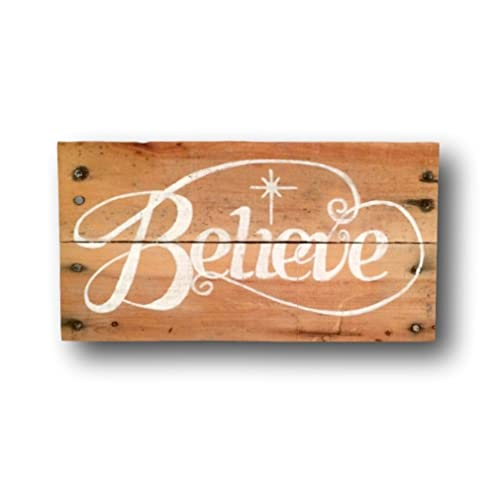 believe wood sign rustic christmas sign vintage christmas decor