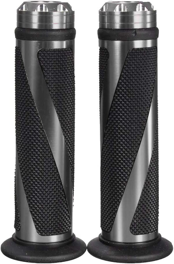Impugnature per moto 1 paio 7//8Grip universale del motociclo gomma nero//Brown manubrio mano Bar Fine for Cafe Racer Accessori moto Color : Black