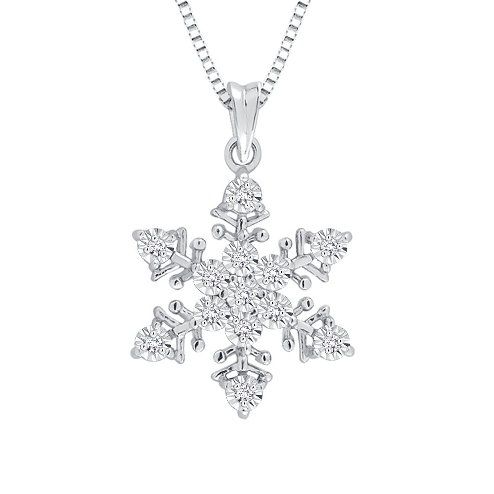 Diamond ''Snow Flake'' Pendant Necklace in Sterling Silver (1/20 cttw, Color GH, Clarity I2-I3)