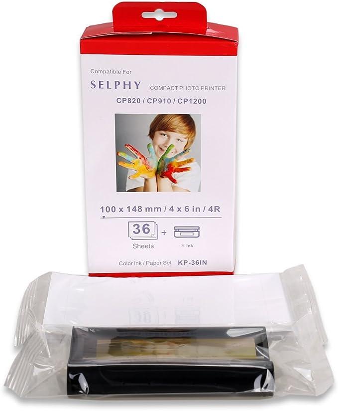 Kp 36in Farb Tintenpapier Set 36 Blatt Und 1 Tinte Kompatibel Mit Selphy Cp1300 Cp800 Cp810 Cp820 Cp900 Cp910 Cp1200 Es1 Es2 Cp200 Cp1000 Drucker Kp 36ip Bürobedarf Schreibwaren