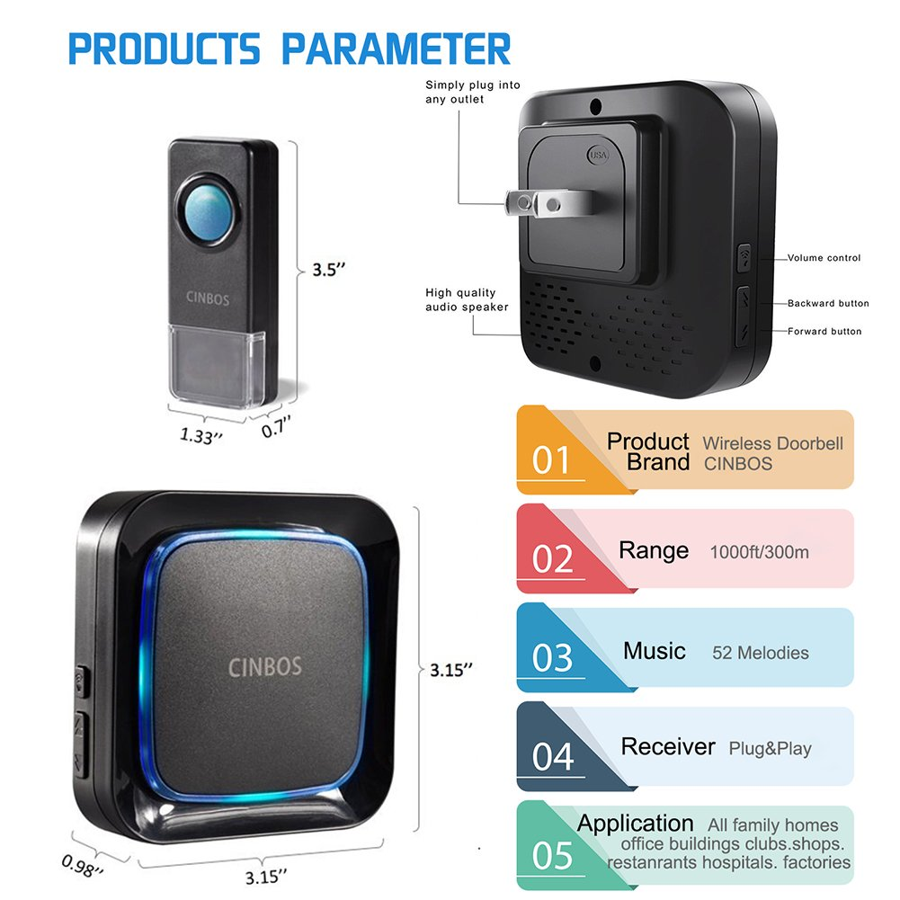 Wireless Doorbells Kit Cinbos Wireless Doorbell for Home LED Light with 1 Receiver and 2 Remote Push Buttons Waterproof,1000 Feet Long Range, 52 Chimes, 4 Levels Volume (B21-2T1-B) by Cinbos (Image #5)