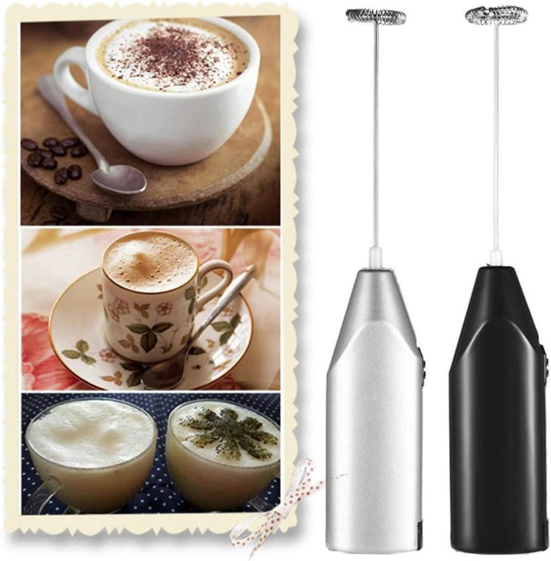 Szaerfa Mini Mano eléctrica espumadores de Leche Bebida espumador batidor Mezclador agitador café batidor de Huevo Herramienta de Cocina de Acero Inoxidable (Plata)