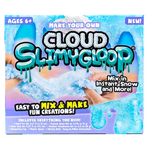 SLIMYGLOOP Make Your Own Fluffy Could DIY Slime Kit by Horizon Group USA,  Mix & Create Super Stretchy, Fluffy, Gooey, Putty Cloud Slime - Instant Snow Included, Blue