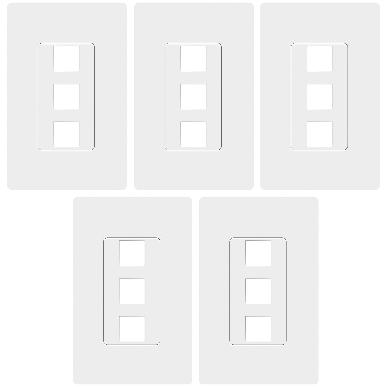 TOPGREENER SI8873 (5 Pack)3 Port Keystone Wall Plate, Keystone Jack Wall Plate, Wall Plate Screwless, Cat5e Keystone Jack Cat6 Compatible, Child Safe, Unbreakable, White