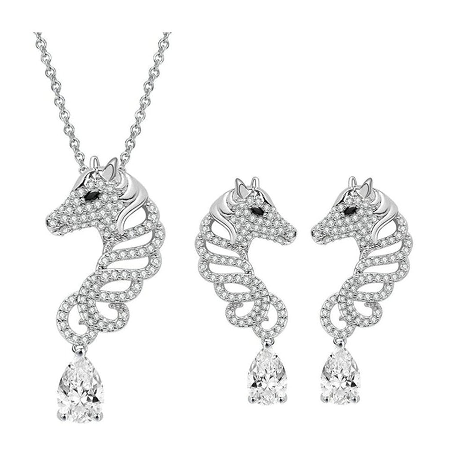 Babao Jewelry Hollow Horse Dazzling Clear CZ Crystal 18K Platinum Plated Pendant Necklace Earrings Set