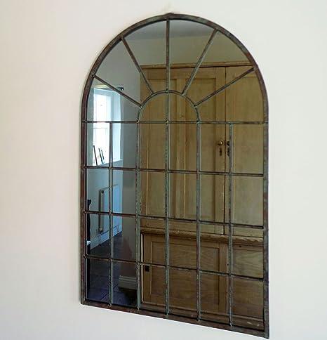 Vintage Rustique Métal Fenêtre Miroir intérieur//extérieur miroir arqué Jardin miroir