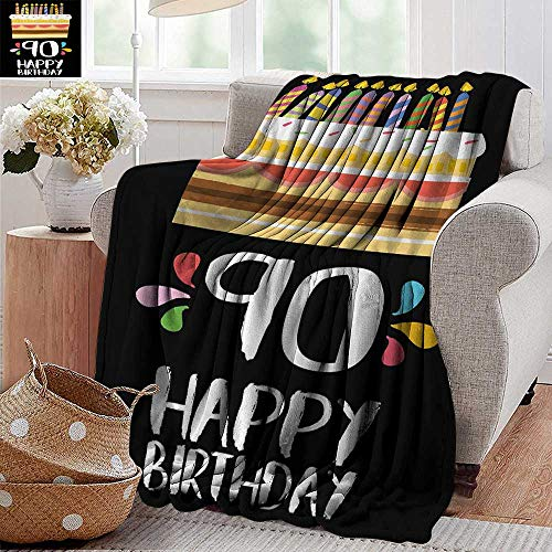(XavieraDoherty Summer Blanket,90th Birthday,Colorful Party Set Up on a Black Background with Cake Candles Artistic Design,Multicolor,300GSM, Super Soft and Warm, Durable 30