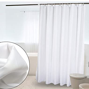 CRW White Fabric Shower Curtain Liner Mildew Resistant Bathroom Polyester Curtains Hooks, 72  x 72