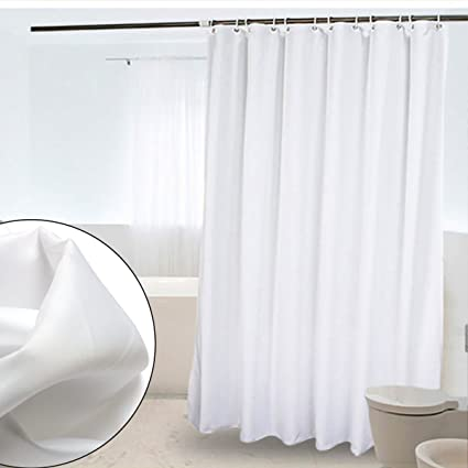 CRW White Fabric Shower Curtain Liner Mildew Resistant For Bathroom Polyester Curtains With Hooks 72quot