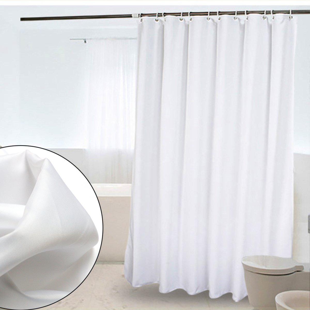 CRW Shower Curtain Liner Mildew Resistant Waterproof Polyester Bathroom Curtain Hooks, 72\