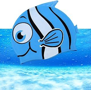 Vkaiy étanche en silicone Bonnet de bain natation étanche Bonnet hochelas tische Bonnet de natation pour enfants et adultes Bleu