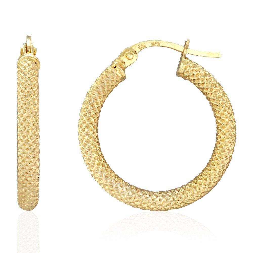 14k Yellow Gold Mesh Style Textured Fancy Hinged Snapback Hoop Earrings, Small