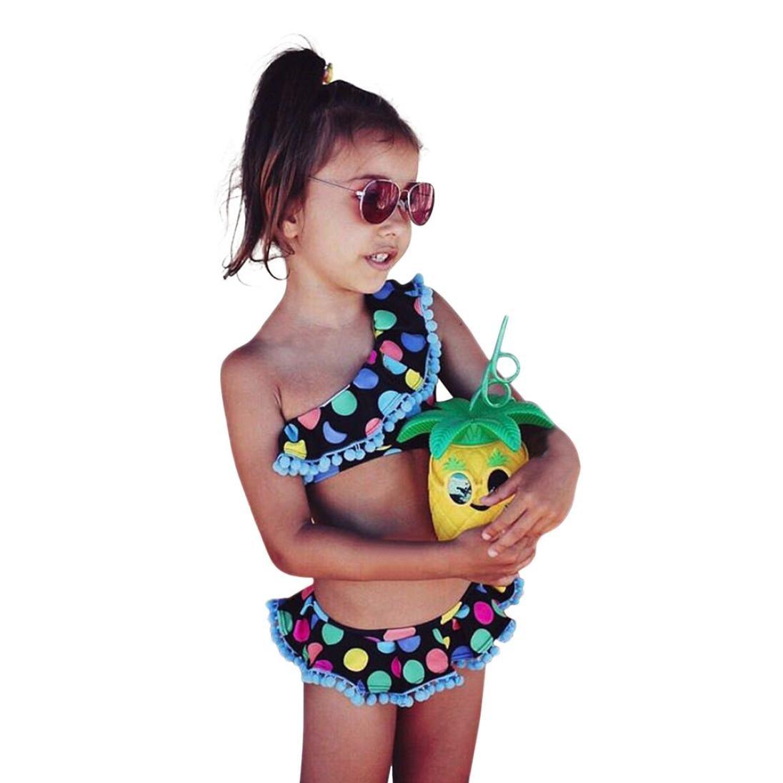 Bambina Costumi, Vendita Calda!Resplend Bambina Dot Print BIkini Set Lato Spalla Costumi Vestiti Nero)