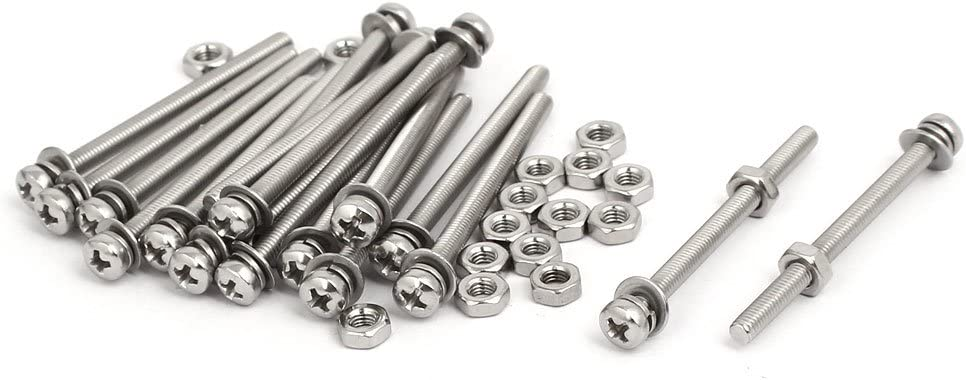 uxcell M3x40mm 304 Stainless Steel Phillips Pan Head Bolt Screw Nut w Washer 18 Sets