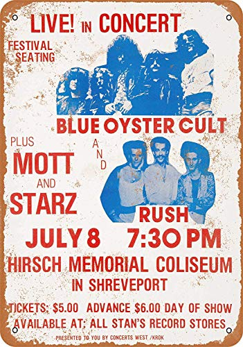Sign - Blue Oyster Cult Rush in Shreveport - Vintage Wall Decor Art ()