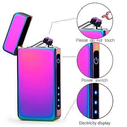 suroper Mechero Electrico USB Doble Arco Encendedor Recargable Sin Llama Resistente Al Viento Seguridad para Cigarrillos