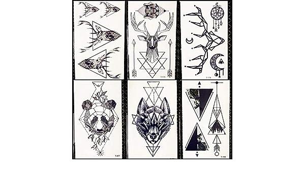 Lobo Geométrico Tatuaje Temporal Mujeres Ciervo Elk Horm Pequeño ...