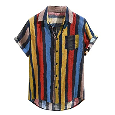 baskuwish Mens Cotton Linen Shirts Colorful Striped Button Pocket Lapel Short Sleeve Tops Tee Shirts: Clothing