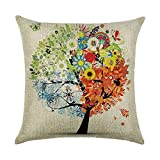 ARTOPB Simple Style Plant Tree Cushion Covers 120g Thick Cotton Linen Double-sided Blue Pink Green Red Orange Pillow Case Cushion For Home Chair Sofa Bed Shop Car Office Decor