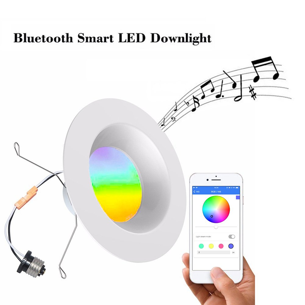 iLintek Bluetooth Mesh Smart LED Downlight, 6inch Dimmable Multicolor Changing Recessed Light, 13W Smartphone APP Controlled Sunrise Wake up LED Lights 1100LM 2700-6500K Ceiling Light - No Hub Needed