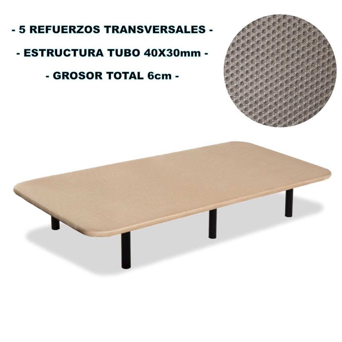 Bonitex - Base tapizada 3D 150x190cm + 6 patas, 5 refuerzos transversales, grosor 6cm, transpirable, color beige: Amazon.es: Hogar