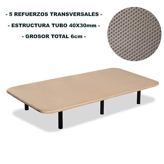 Bonitex - Base tapizada 3D 90x190cm + 6 patas, 5 refuerzos transversales, grosor 6cm, transpirable, color beige: Amazon.es: Hogar