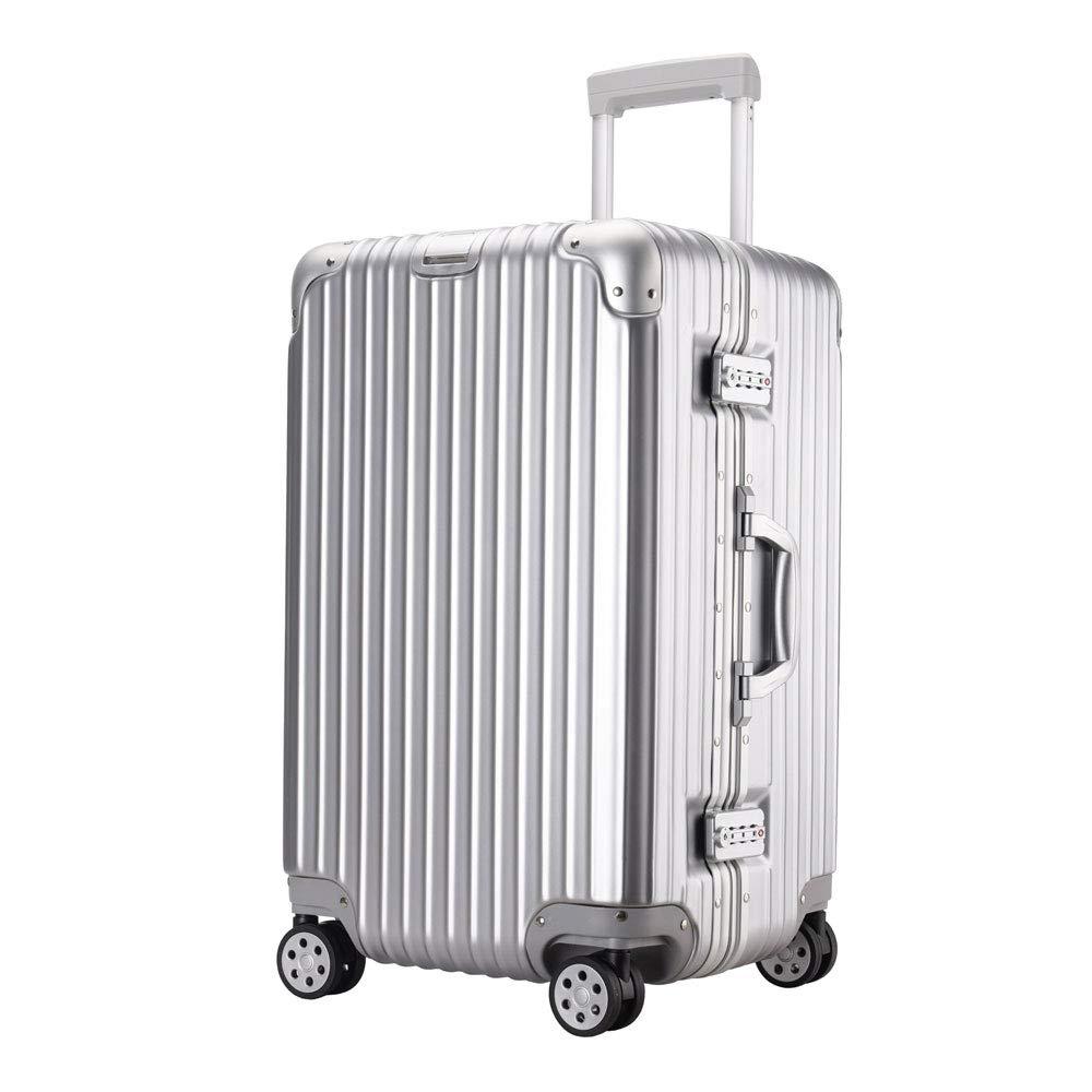 トロリーケース肥厚拡大大容量つや消しアルミフレームスーツケース搭乗ユニバーサルホイールスーツケース (Color : シルバー しるば゜, Size : 20 inches)   B07RBSQHTP